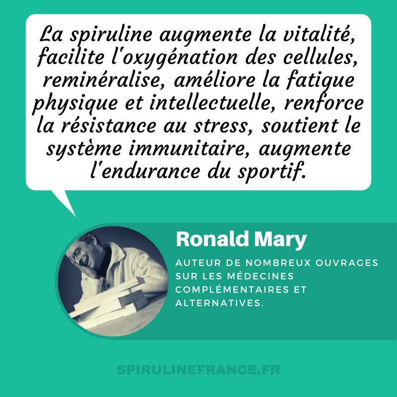 Ronald Mary évoque les bienfaits de la spiruline